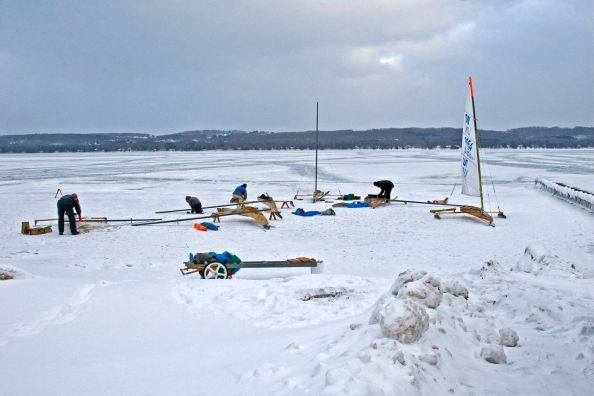 Ice boats on Torch Lake
