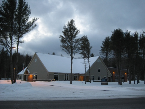 Night falls at the new township hall