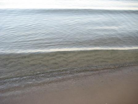 Sandy bottom, glassy top