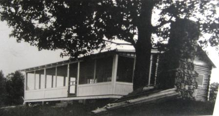Maude Harris's log cabin in 1924 - Lake side screened porch
