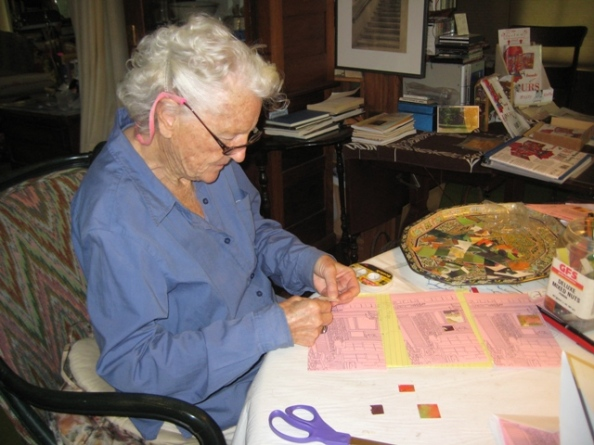 Betty Beeby at work on thank you notes