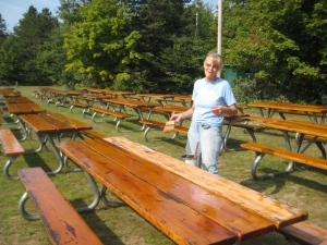 Varnishing the picnic tables