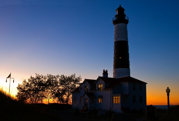 Big Sable Point light at dusk