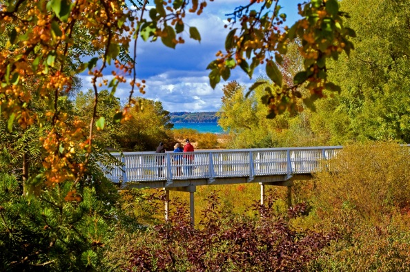 Elk Rapids library bridge in autumn