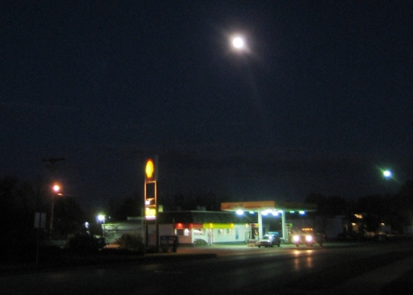Moonrise over the Shell Station
