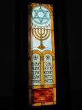 Stained glass window at Congregation Beth El