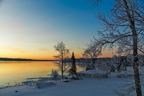 Sunrise on Torch Lake - first ice