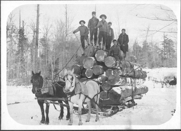Logging camp at Island Lake, from the Prince Hillman Collection, Wilkinson Homestead Historical Society