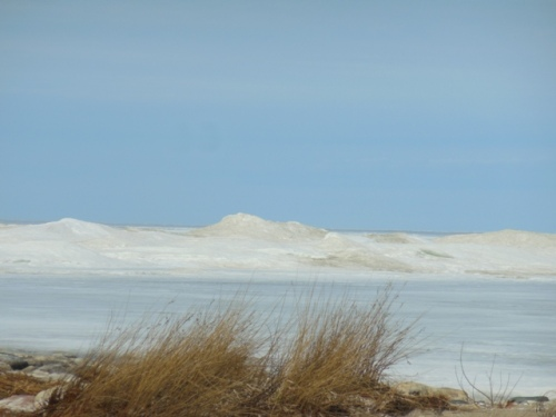 Ice mountains beyond the beach grass