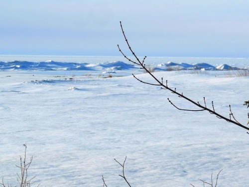 Blue ice mountains in March
