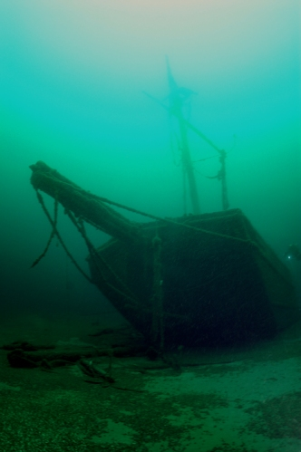 Silver Lake scow-schooner, sunk 1900 in Lake Michigan. NPS photo.